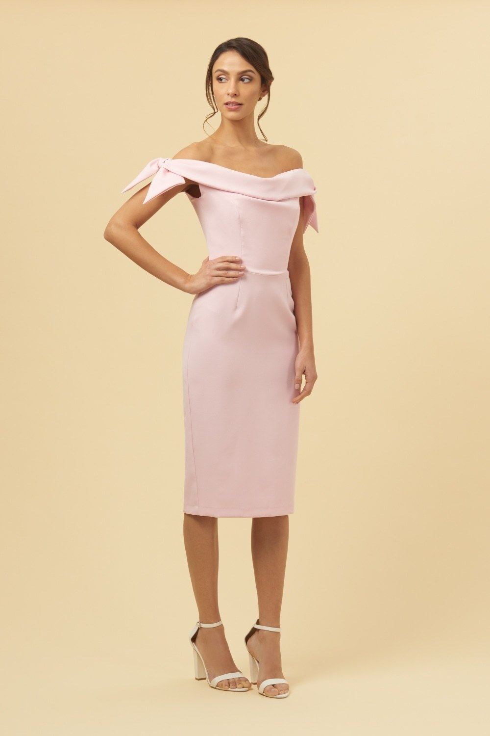 Tilly Dress Off the Shoulder Pale Pink Dress
