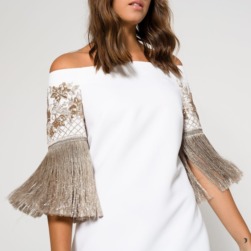 Ivory Strapless Dress with Antique Gold Fringing