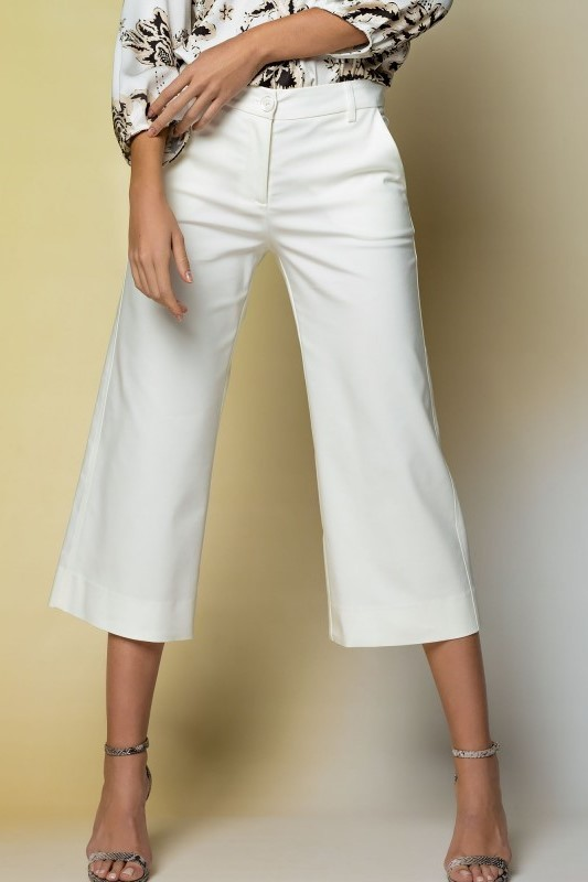 White Ankle Length Wide Trousers ACCTR5072