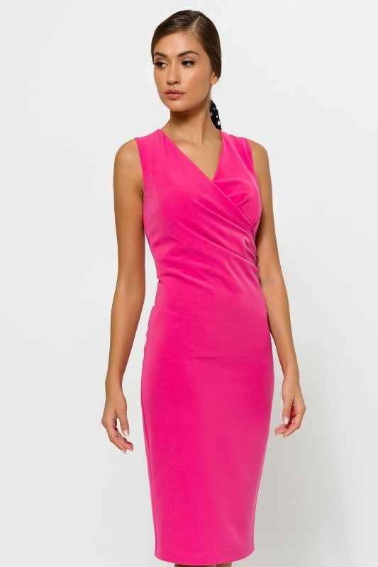 Pleated V neck Dresss