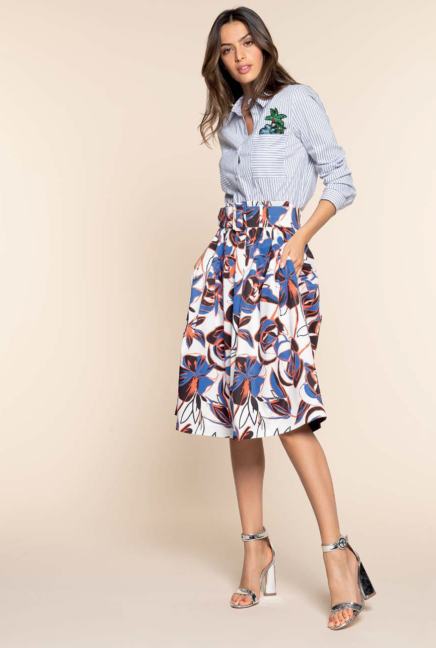 Multicoloured Print Skirt HASK6182420
