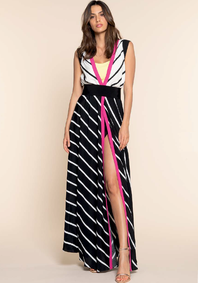 Black and White Slit Dress with Pink Trim HADR2351SA2431