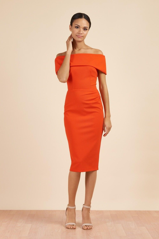Dani Bardot Dress Orange PDCDRDANIORANGE