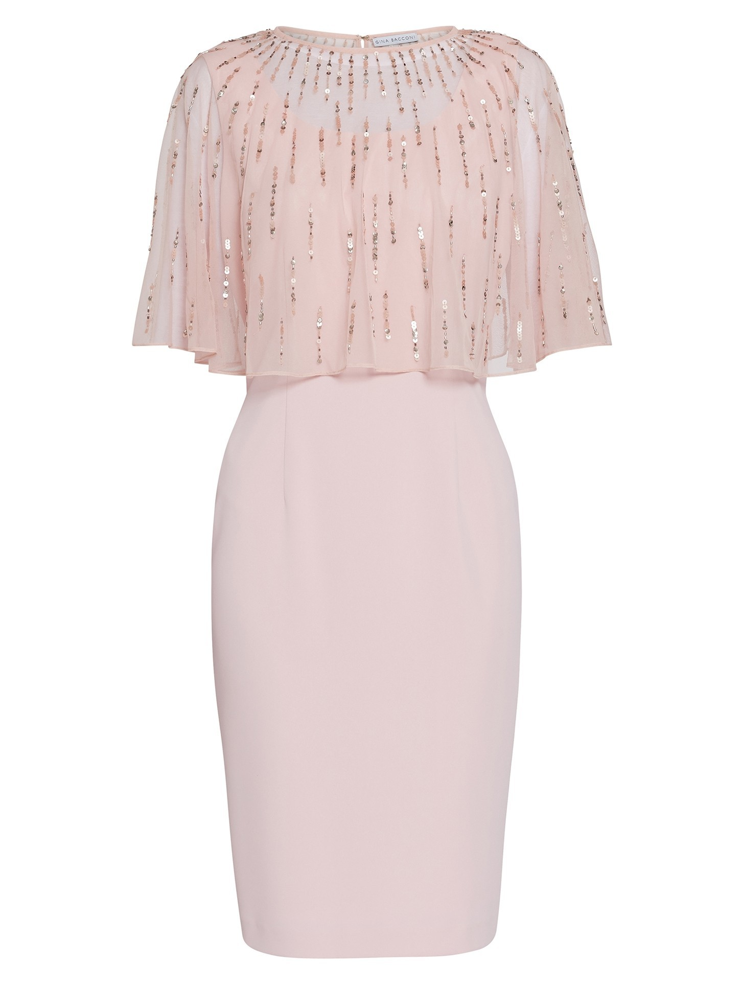 Roena Dress with Beaded Overcape Pink