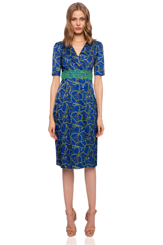 Printed Bodycon dress with lace detail