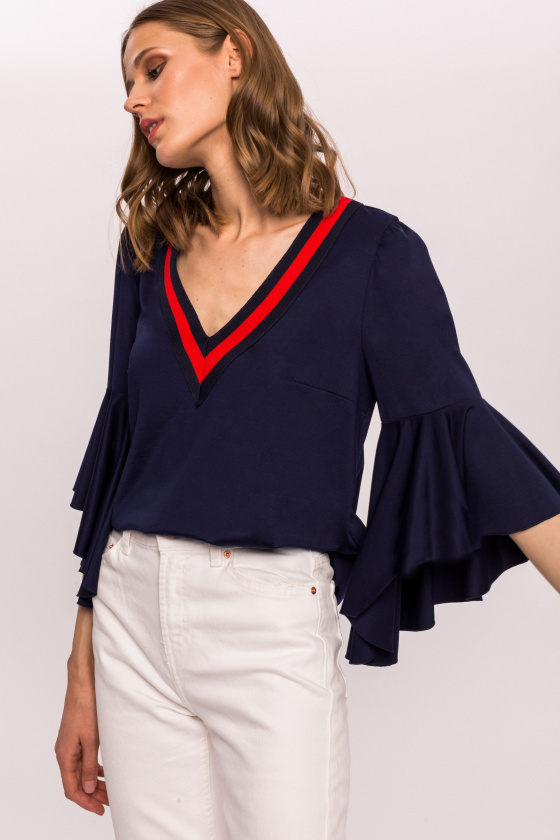 Viscosse Top with Ruffle Sleeve NITO10633