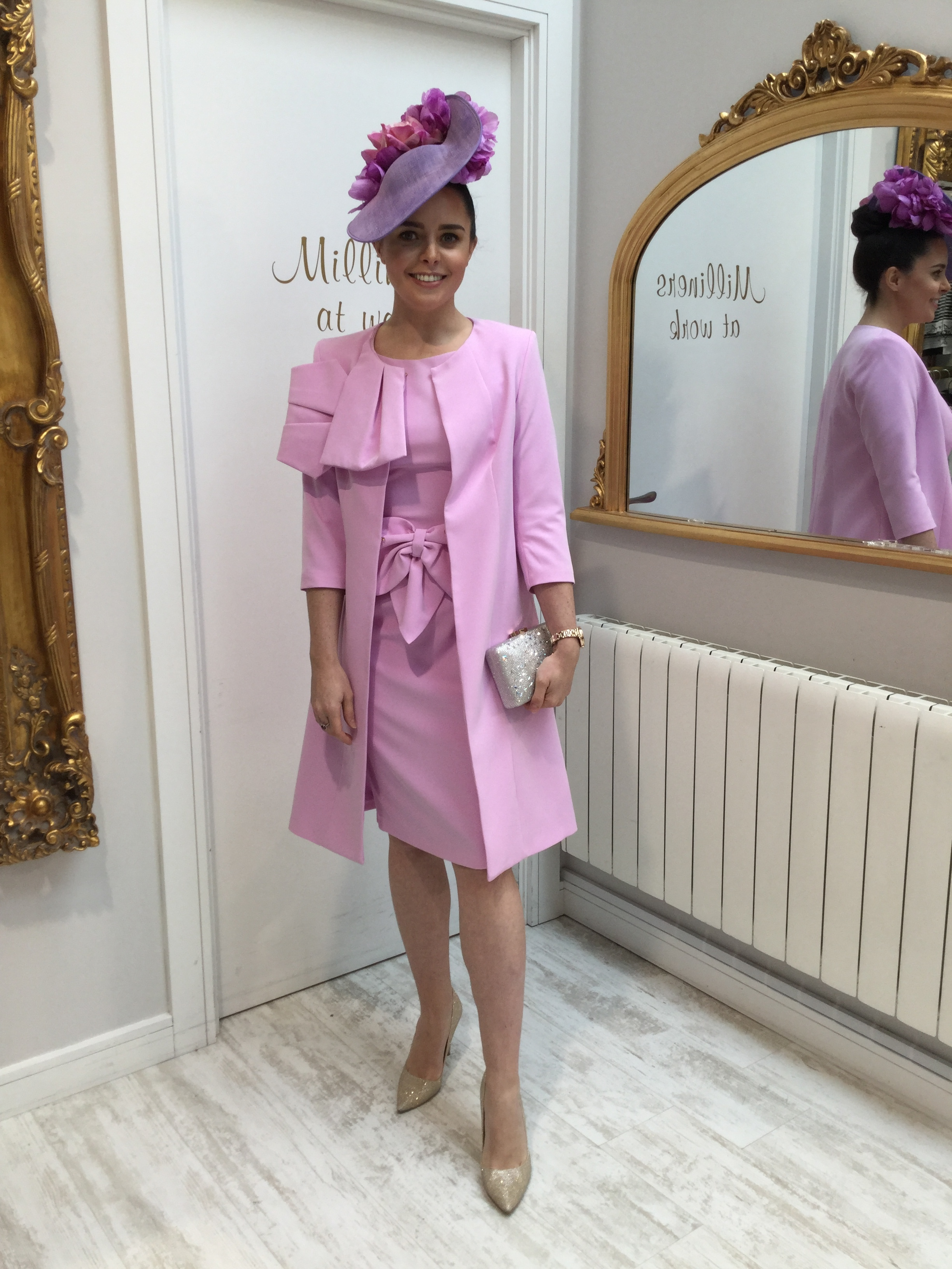 Coat with Bow Detail Pink