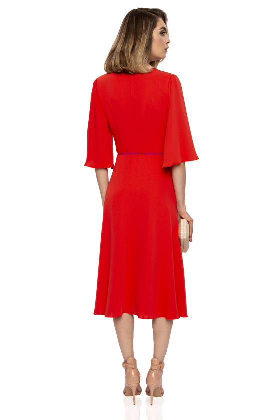 Midi Dress With 3/4 Sleeves And Full Skirt