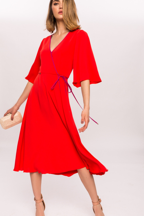 Midi Dress With 3/4 Sleeves And Full Skirt NIDRrz10473