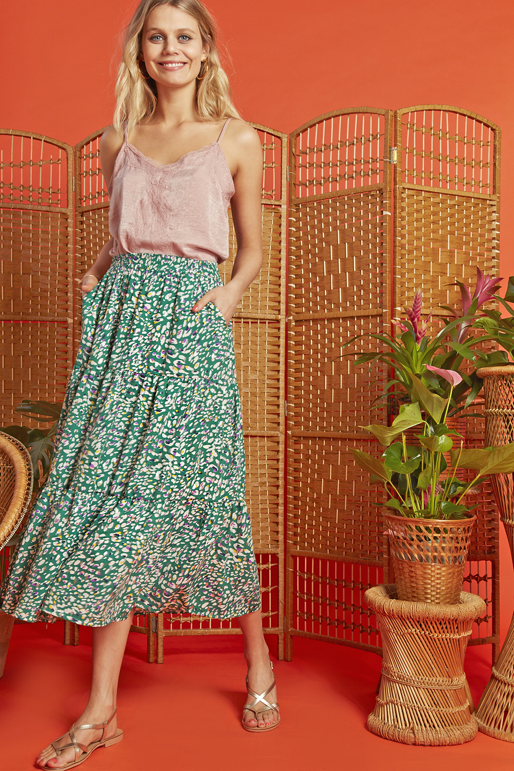 Griffin Skirt in Playa Green Print ONJSKPLAY