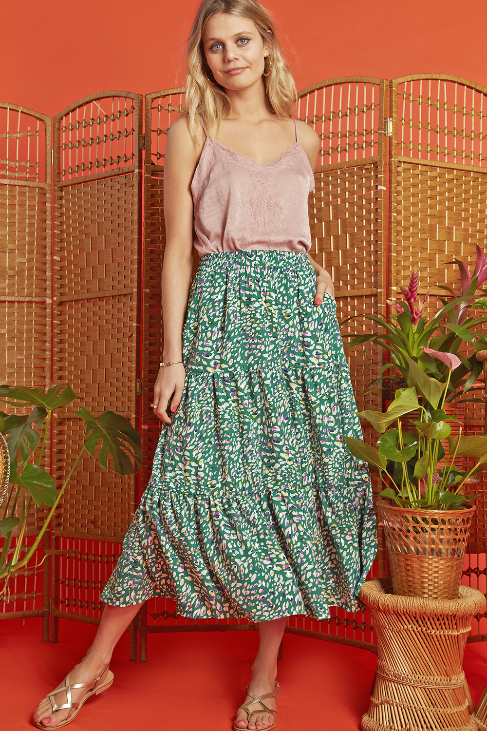 Griffin Skirt in Playa Green Print