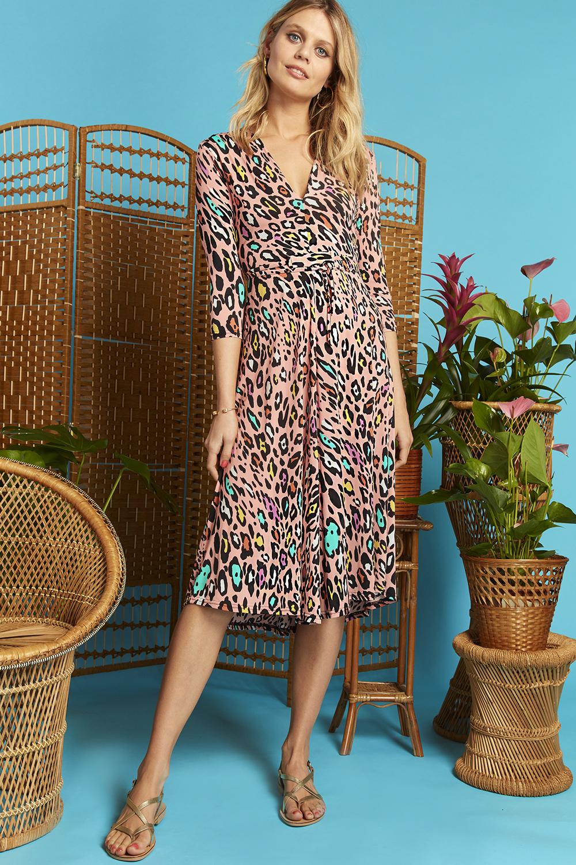 Amy Dress in Rainbow Leopard Print ONJAMYRAIN