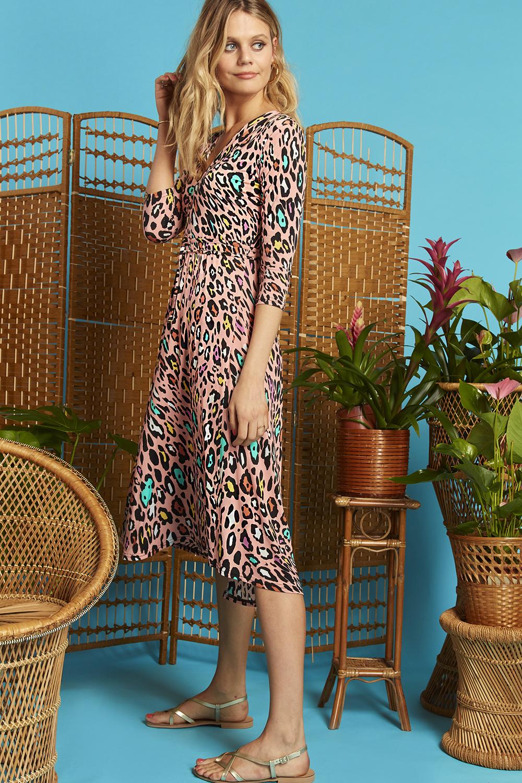 Amy Dress in Rainbow Leopard Print