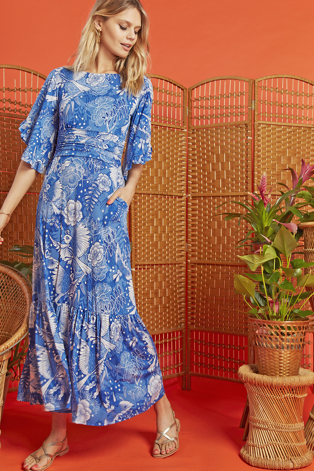 Gabriella Maxi Dress in Frida Blue print ONJDRGABFRID