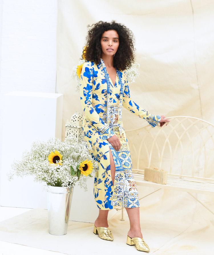 Felicity Dress in Blue and Yellow Print SKEEDRFELIC