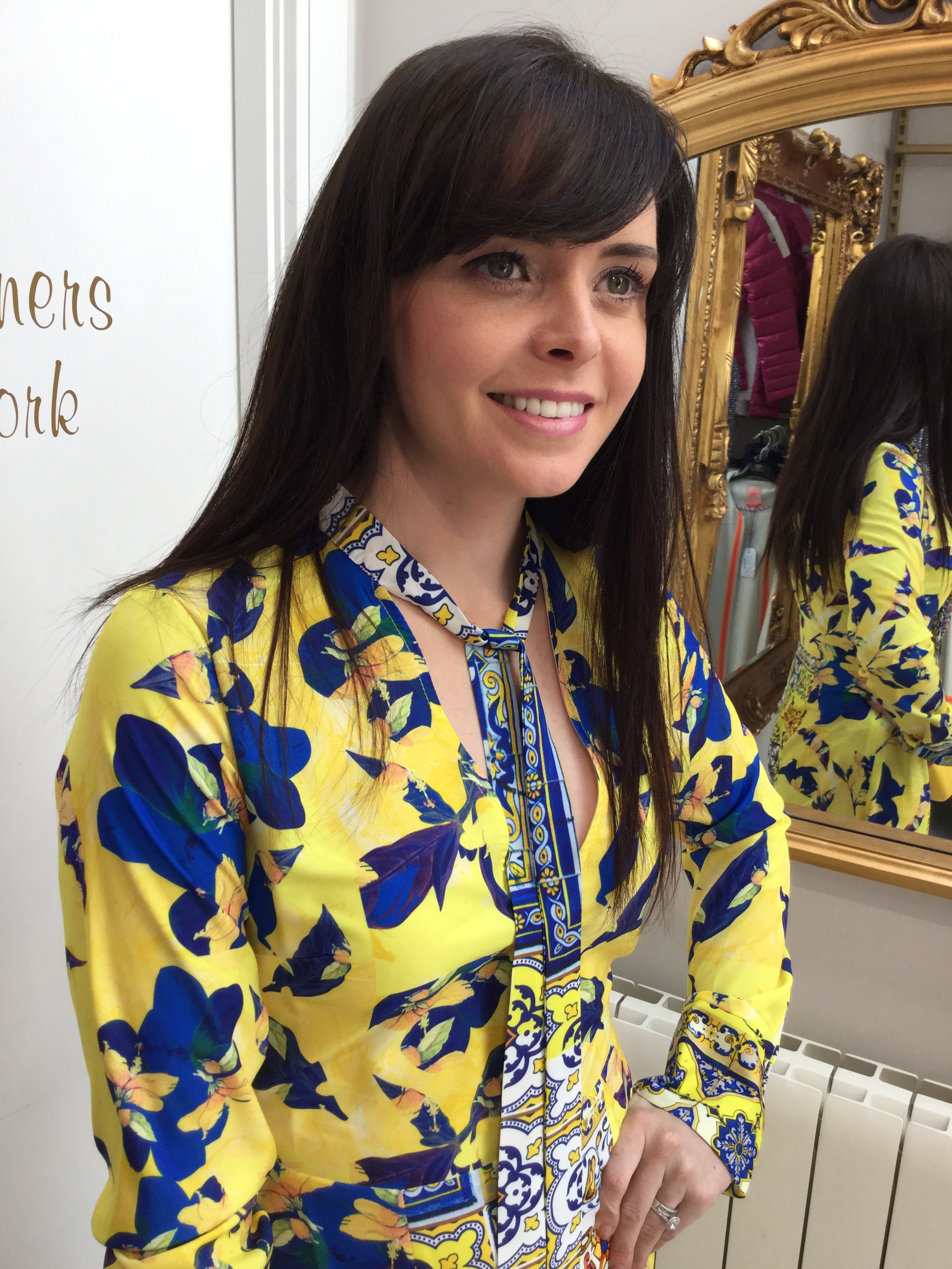 Felicity Dress in Blue and Yellow Print
