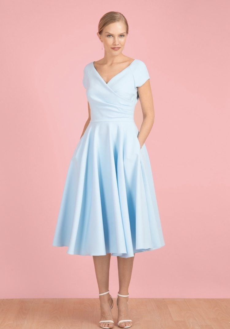 Hourglass Swing Dress in Pale Blue PDCOHOURGLASSSWING