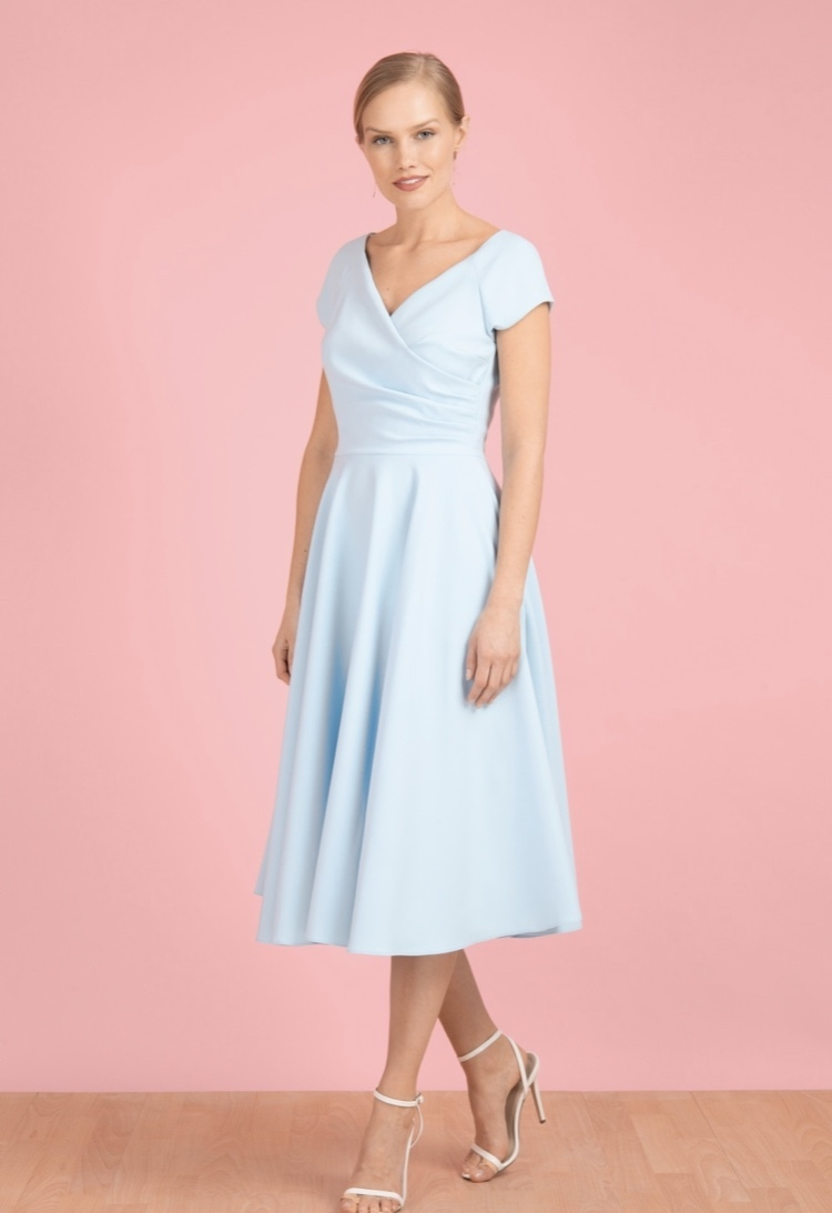 Hourglass Swing Dress in Pale Blue