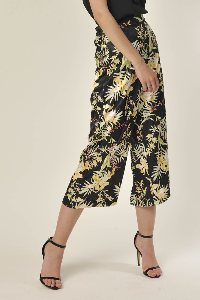 Floral Trousers Black