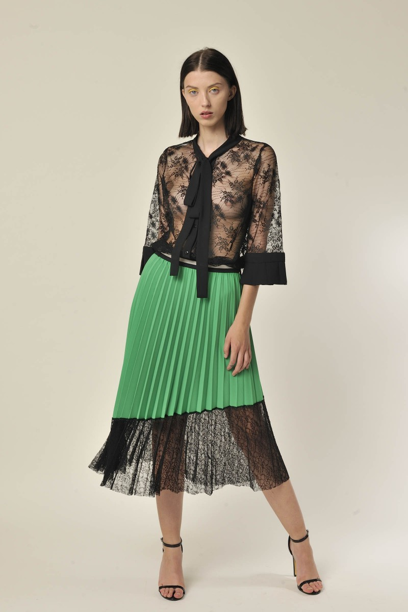 Pleated Skirt with Lace Green G&JSK32005