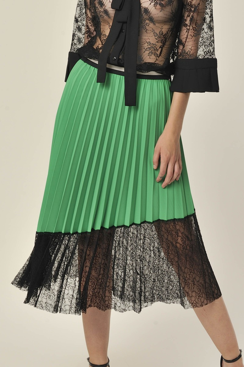 Pleated Skirt with Lace Green