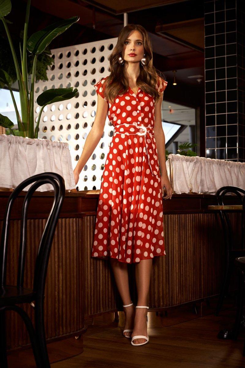 Red Polka Dot Dress ARDR42563