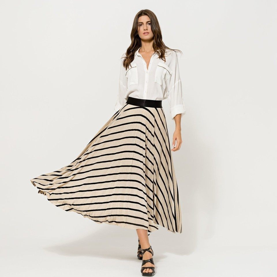 Black and Gold Glitter Striped Skirt ACCSKBKGOLD