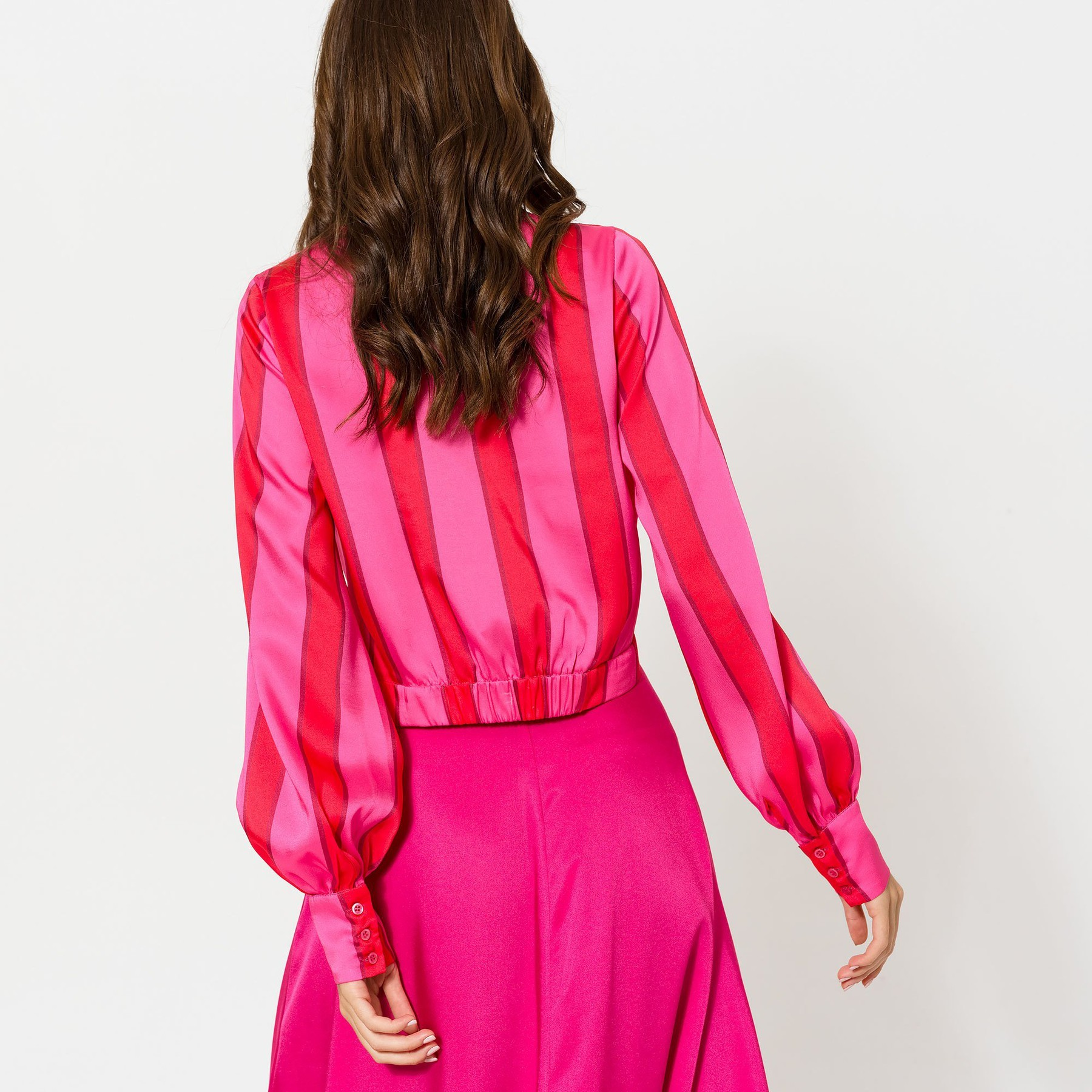 Red and Pink Striped Vneck top
