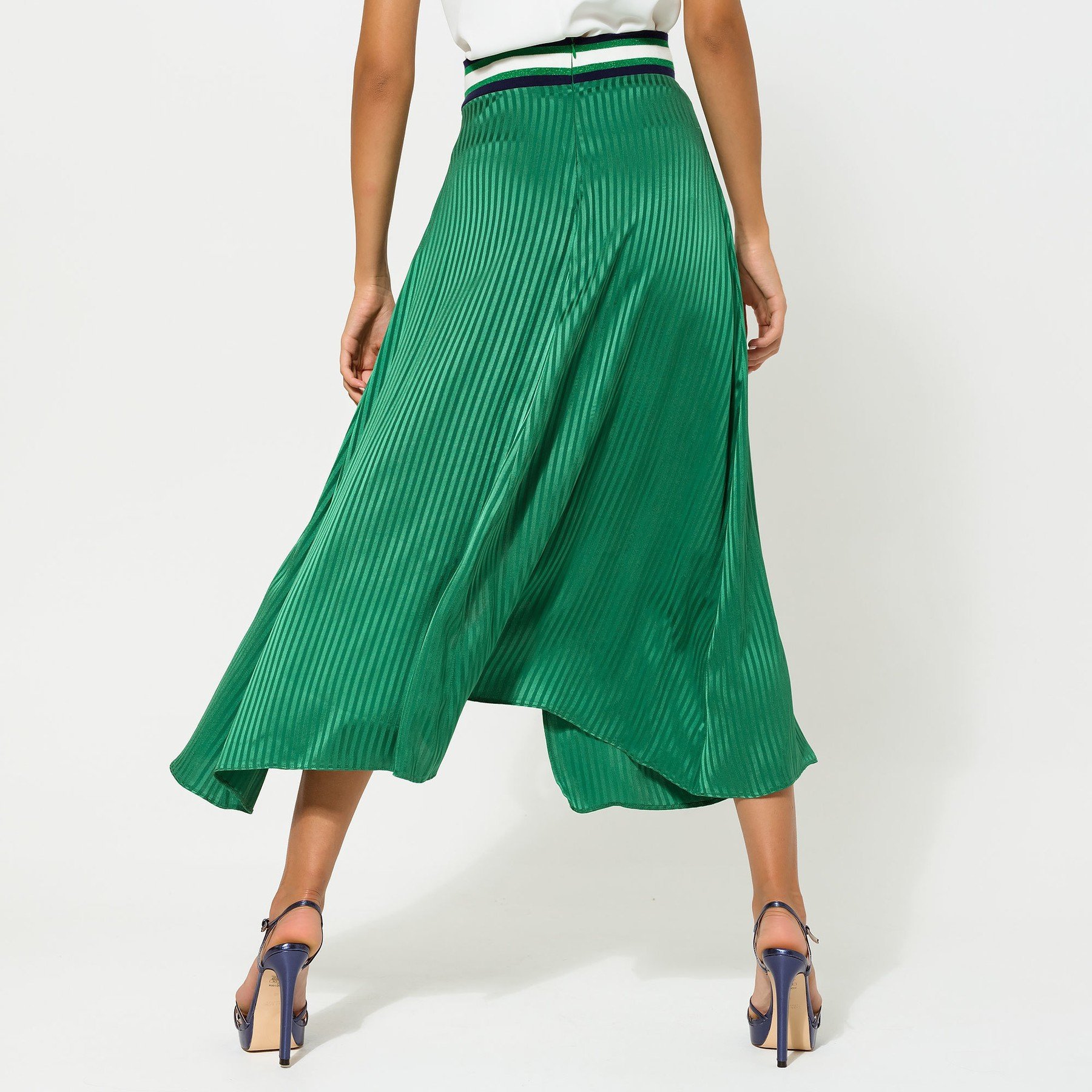 Green Wrap effect Skirt with Elastic Waistband