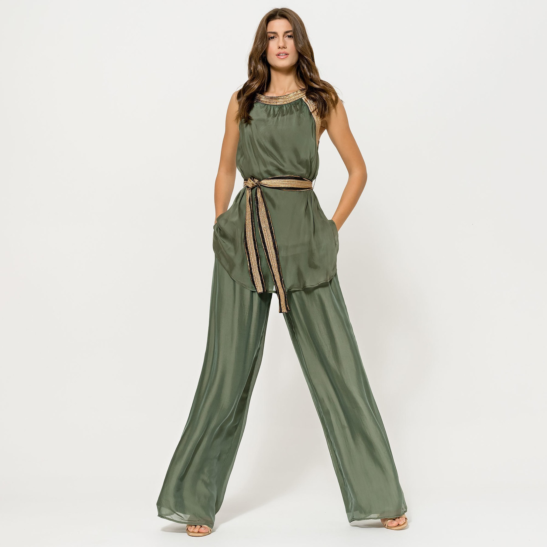 Khaki Green top with Gold Straps and Belt ACCTOPGREN