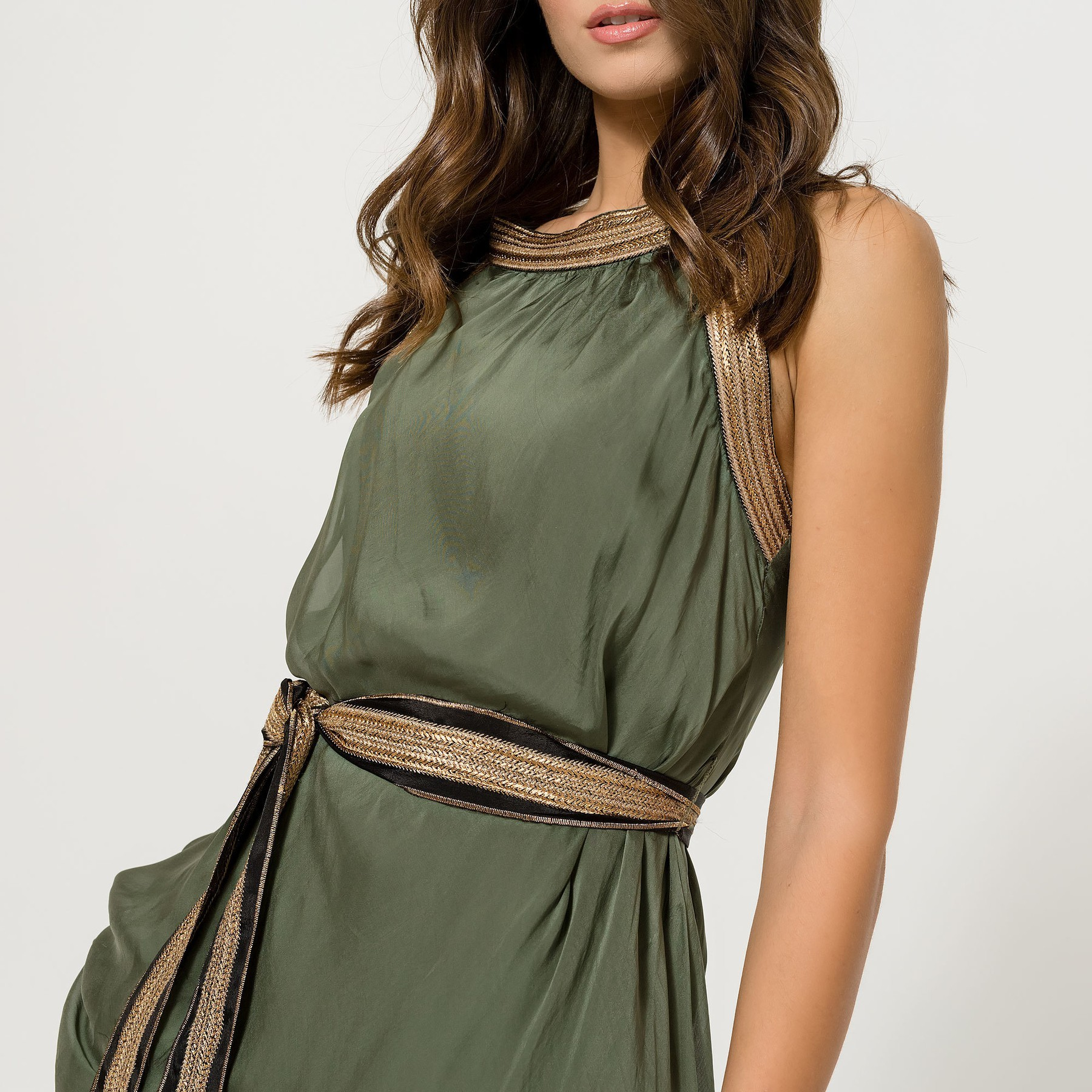 Khaki Green top with Gold Straps and Belt
