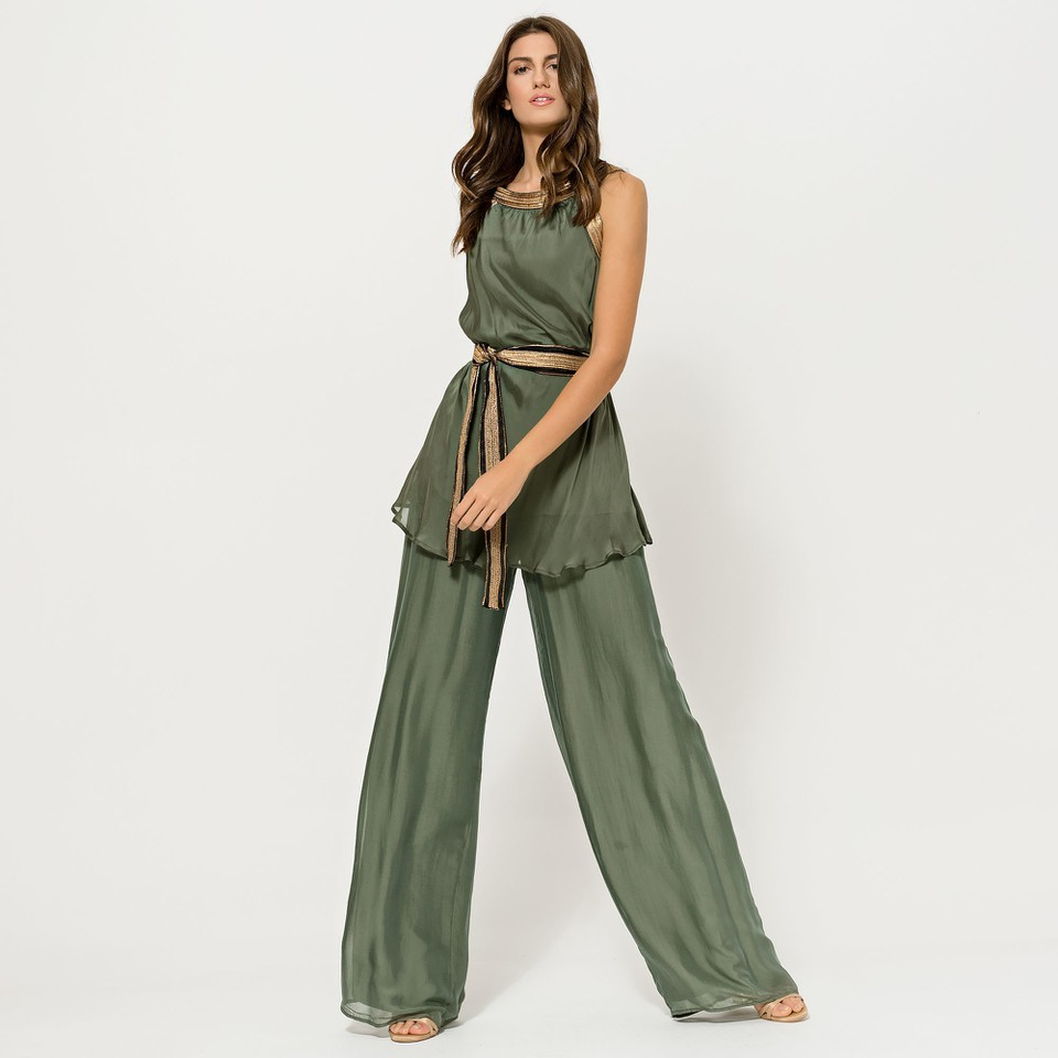Silky Muslin Feel Khaki Trousers