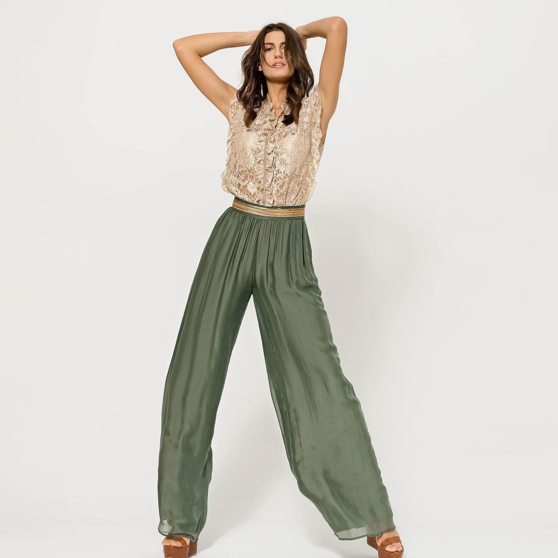 Silky Muslin Feel Khaki Trousers ACCTROUKHAK