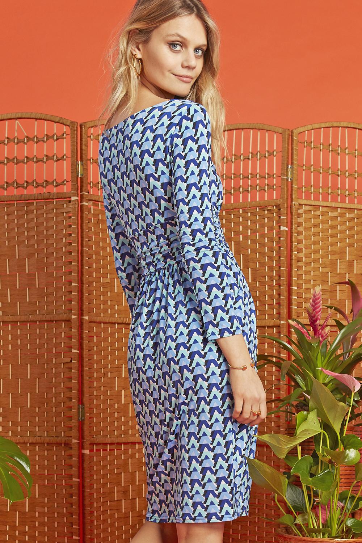 Sydney Dress in Blue Wave Print