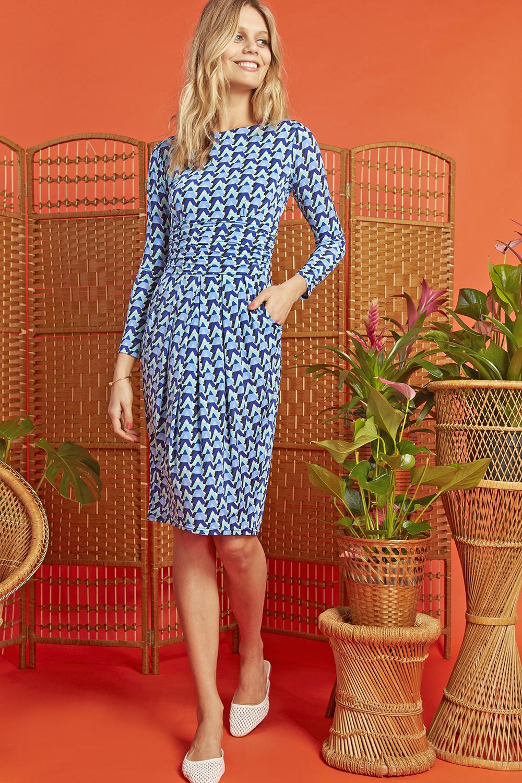 Sydney Dress in Blue Wave Print ONJDRSYDWBL