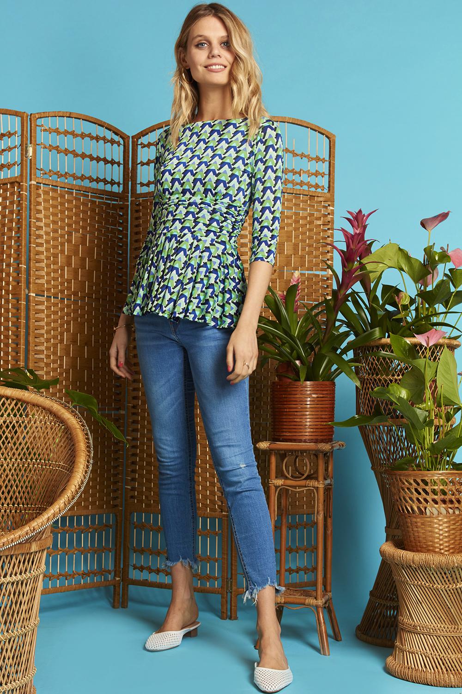 Tori Top with 3/4 sleeves in Wave Green ONJTOPTORWGR