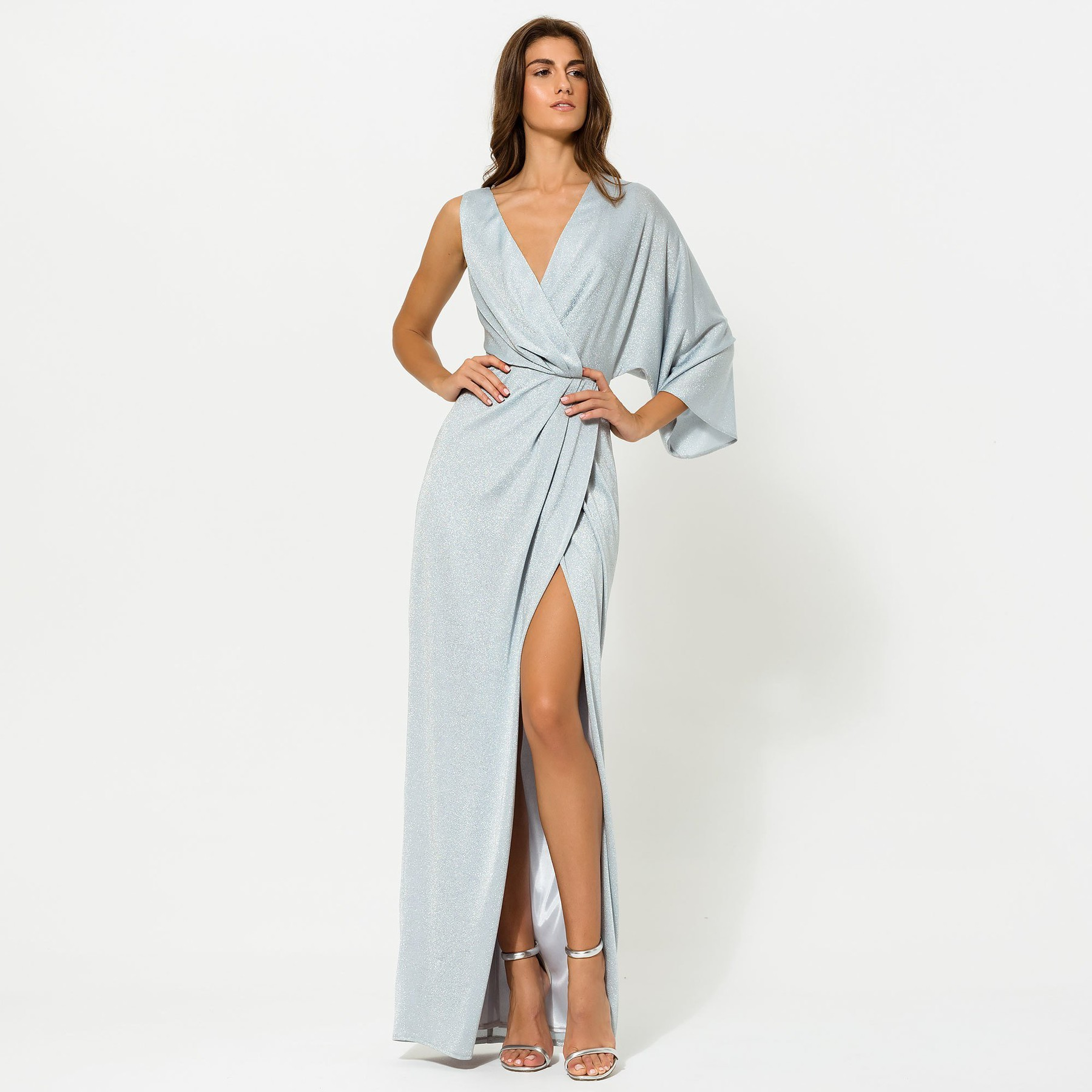 Glitter Maxi with one Sleeve ACCDRPALBLU3519