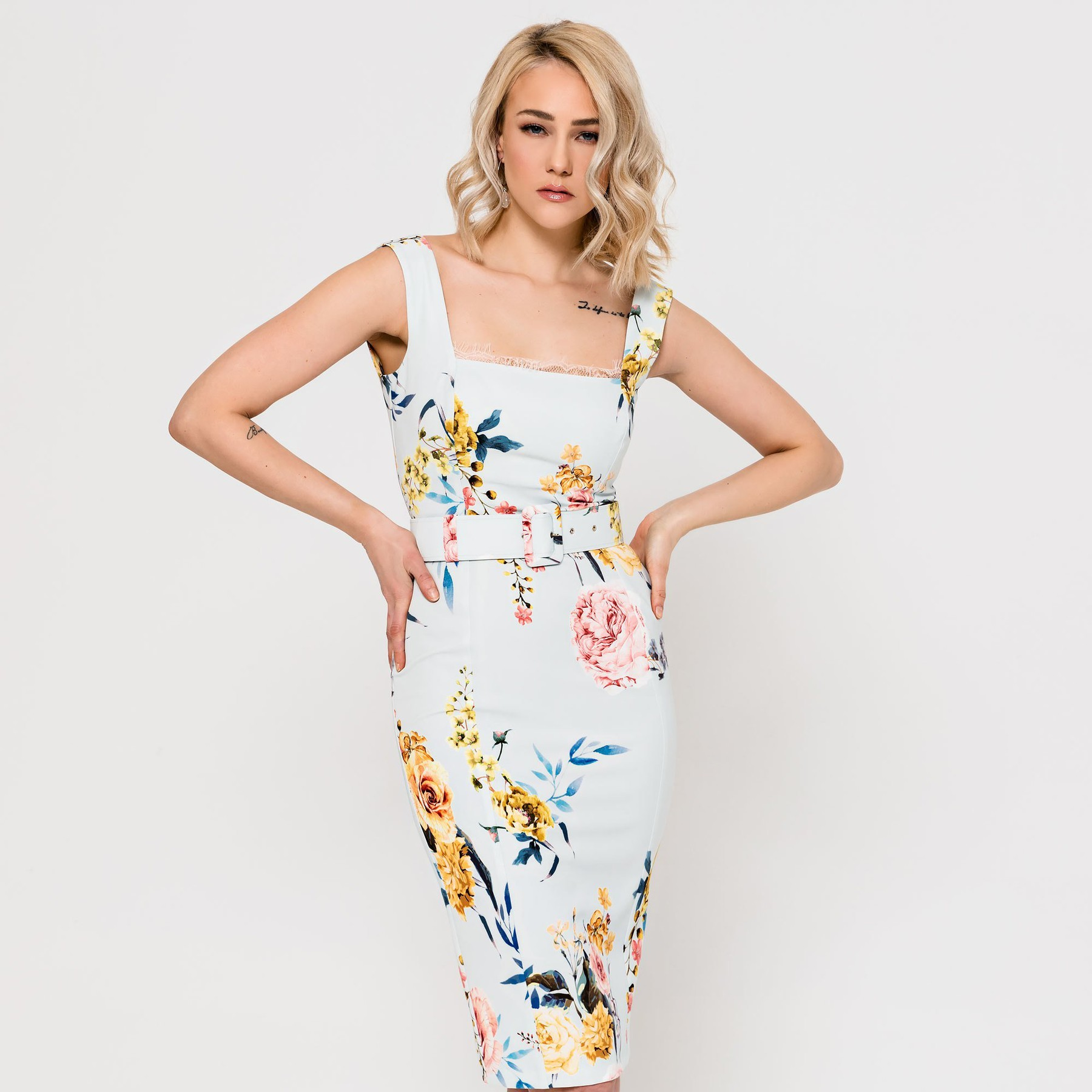 Floral Dress with Square Neckline