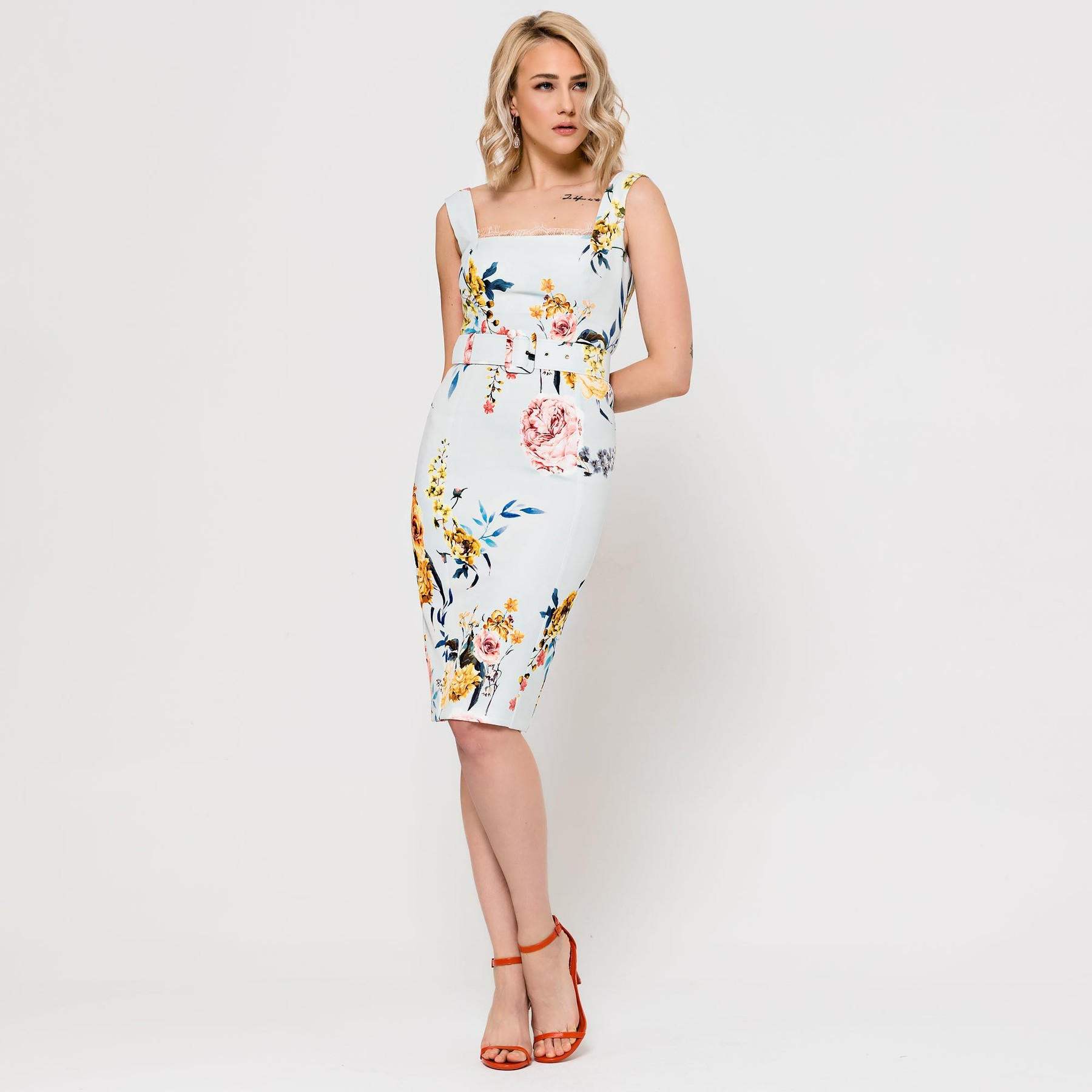 Floral Dress with Square Neckline ACCDRFLORAL3060
