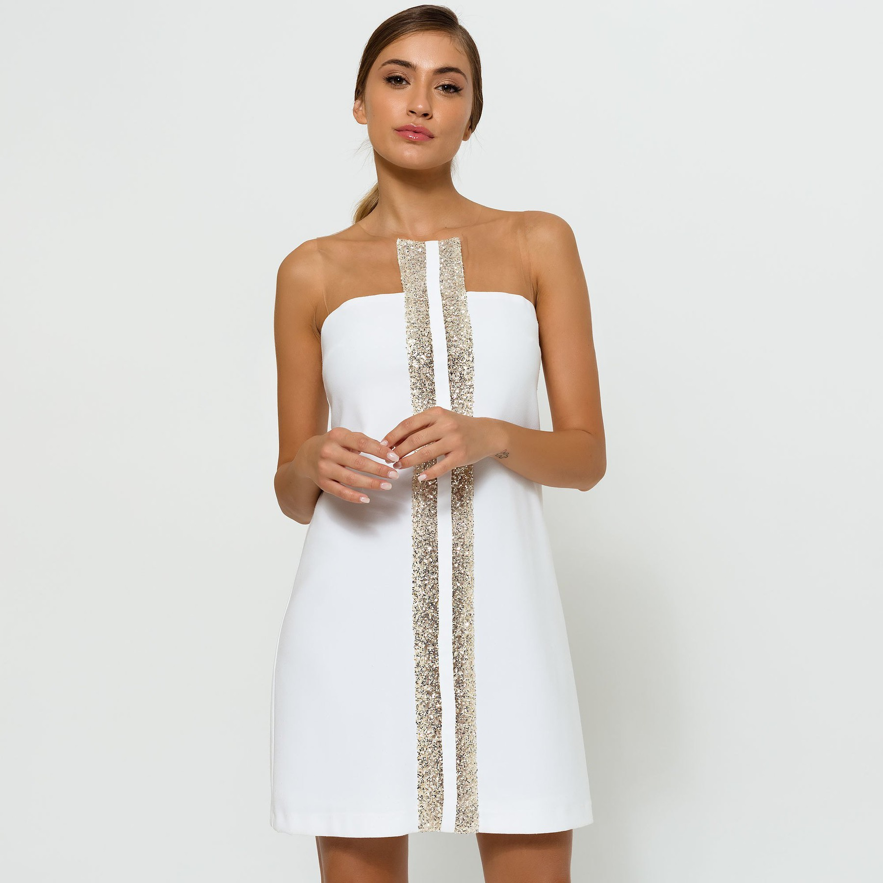 Ivory Dress with Glitter Stripes ACCDRIV3057
