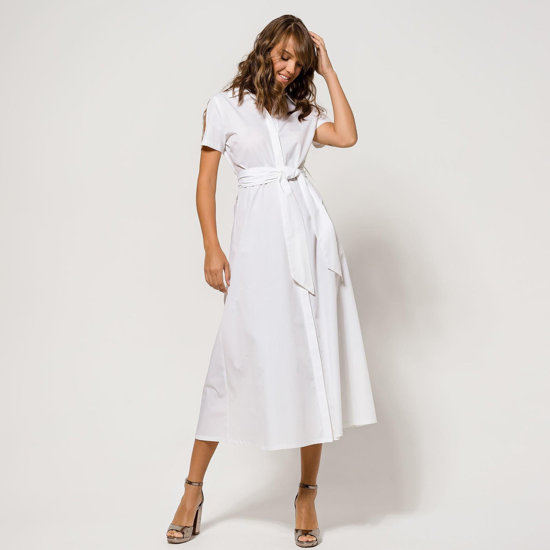 Shirt Dress with Glitter Shoulder Detail