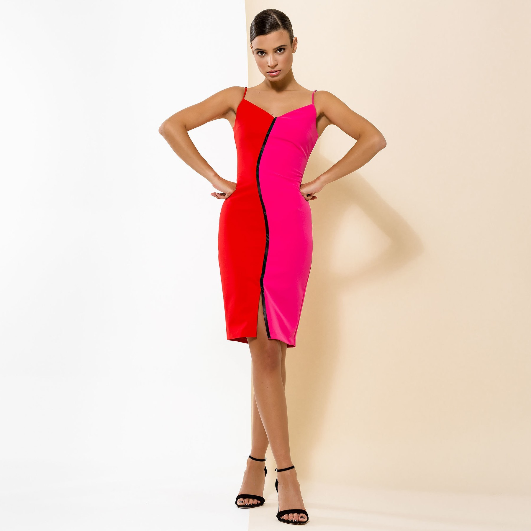 Bodycon dress in Red and Pink with Black Trim ACCDR3011