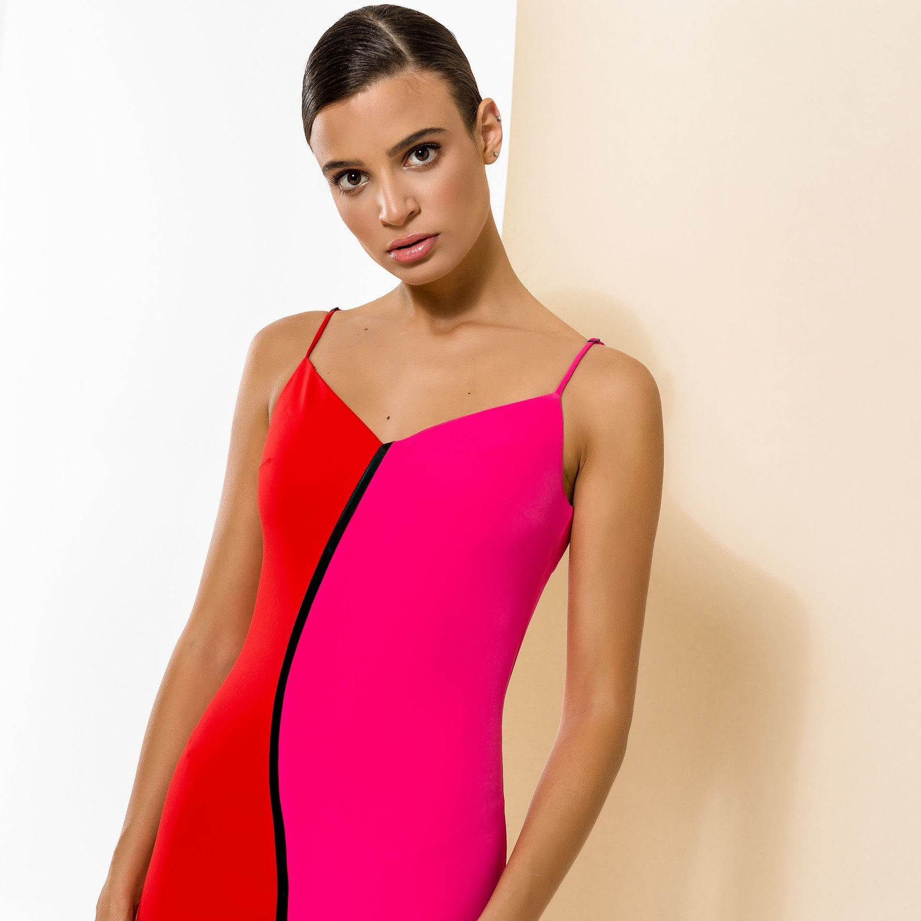Bodycon dress in Red and Pink with Black Trim