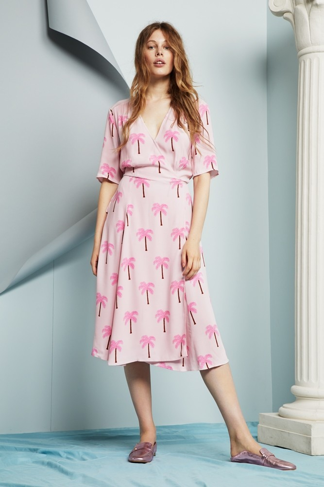 Mania Wrap Dress Pink Palm FCDRMANIA