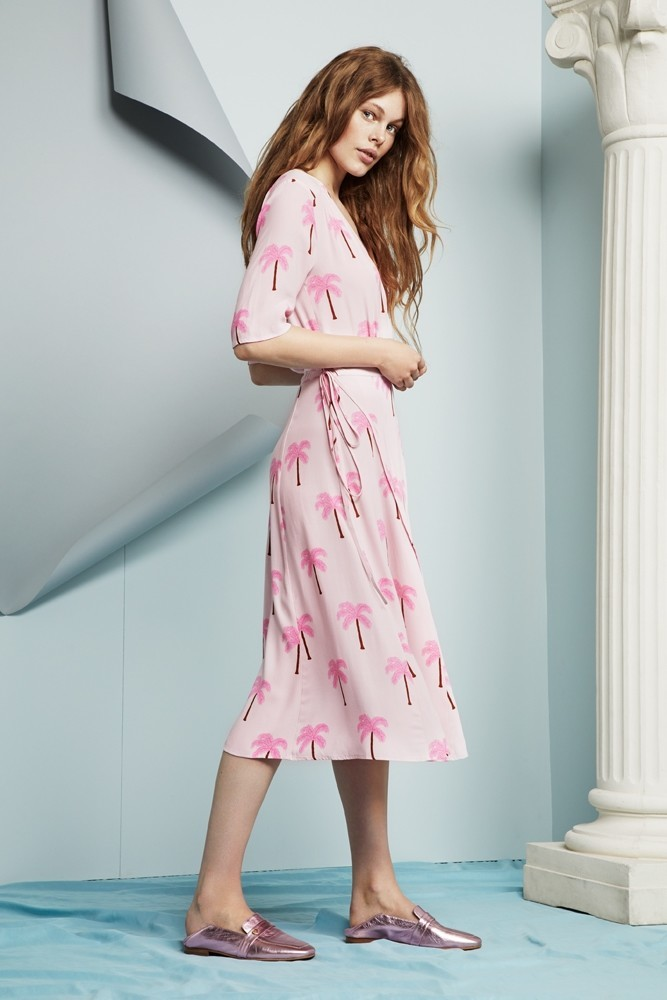 Mania Wrap Dress Pink Palm