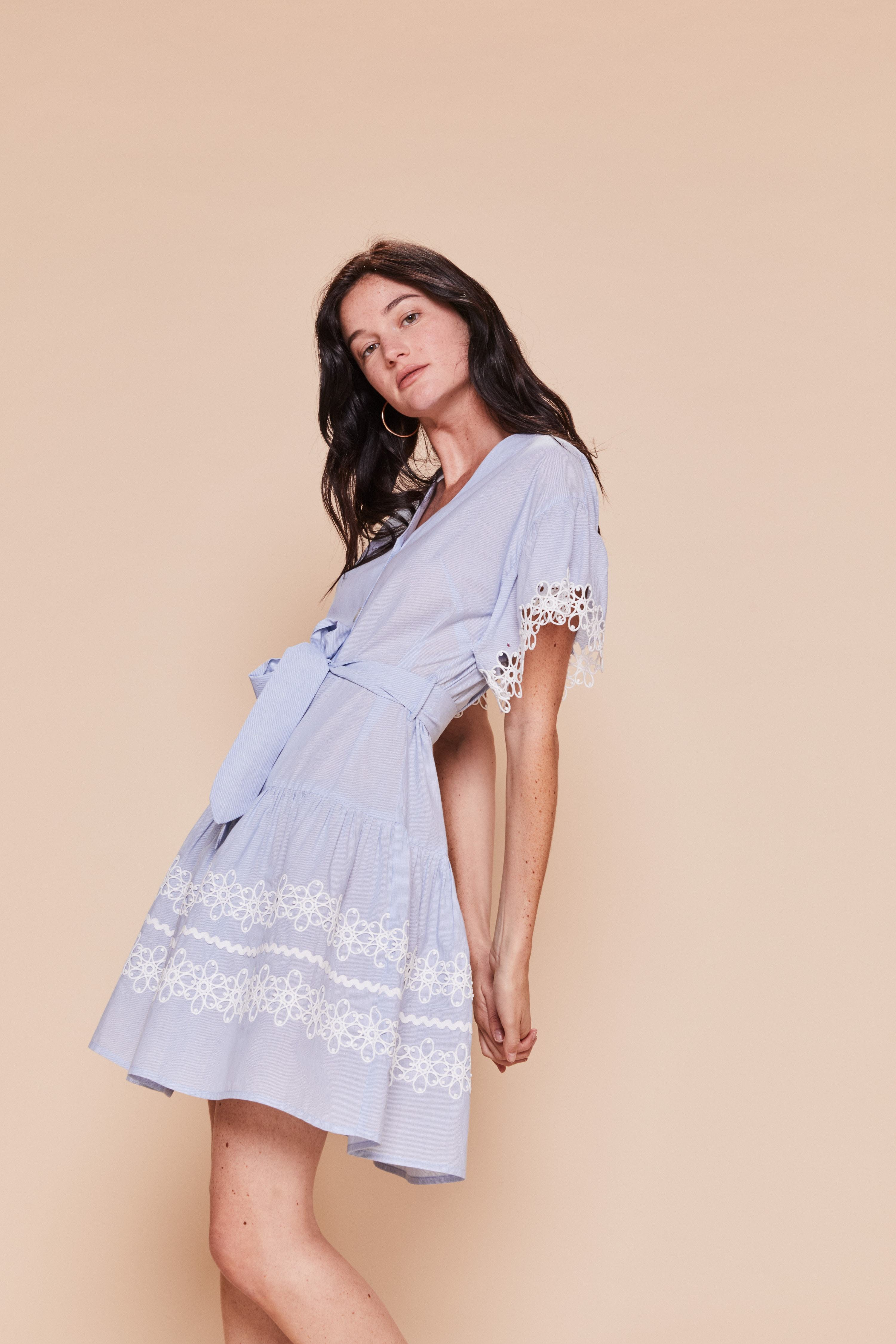 Effectif Dress in Pale Blue with Lace Anglais Detail