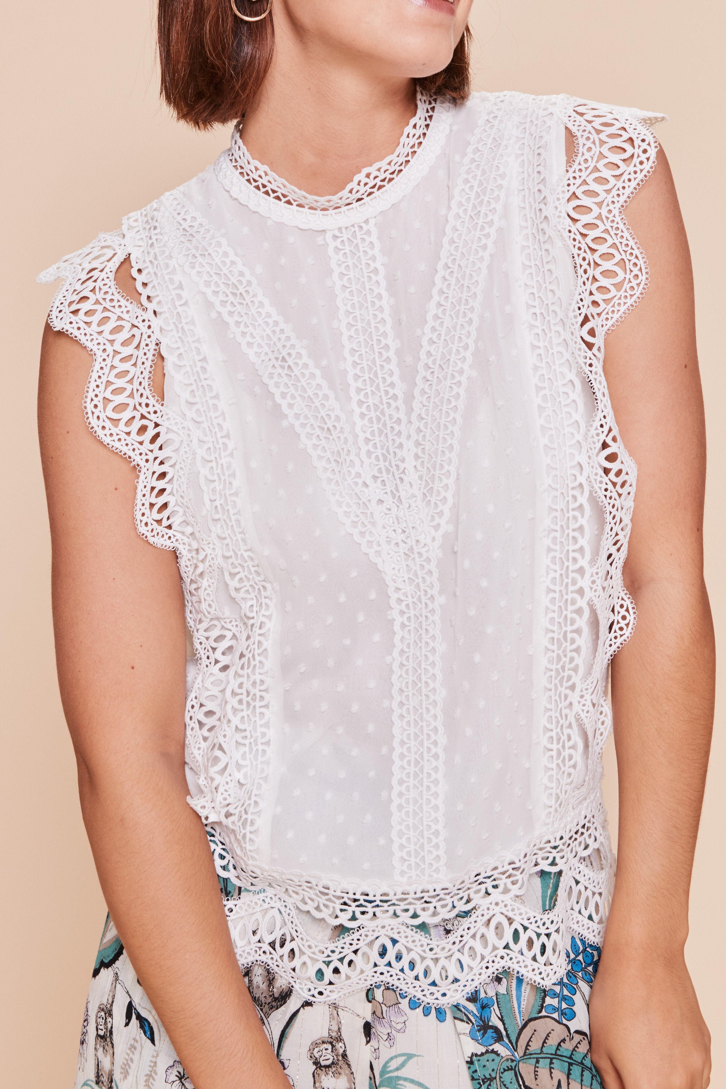 Madagascar Lace Top in Ivory