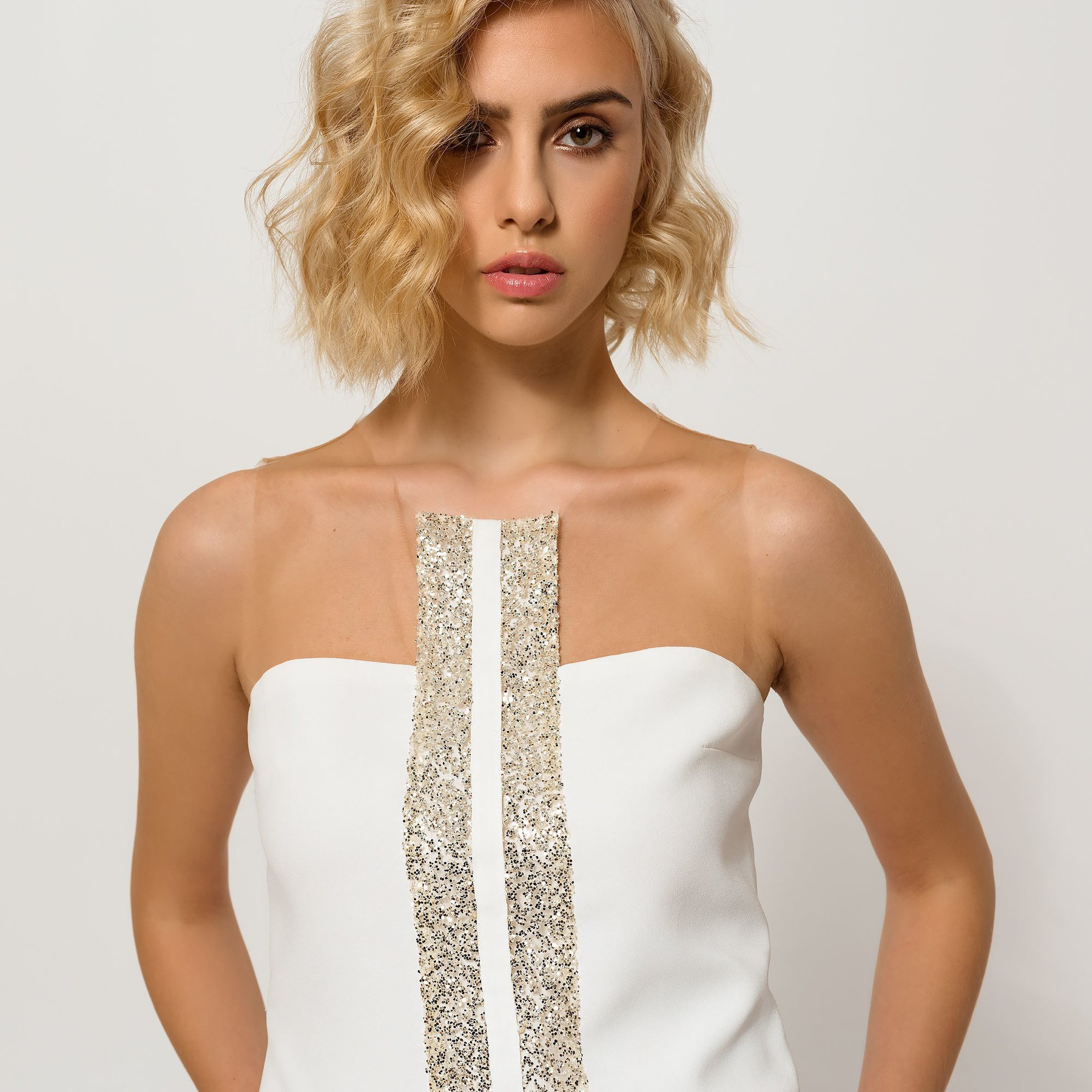 Ivory Top with Glitter Stripes