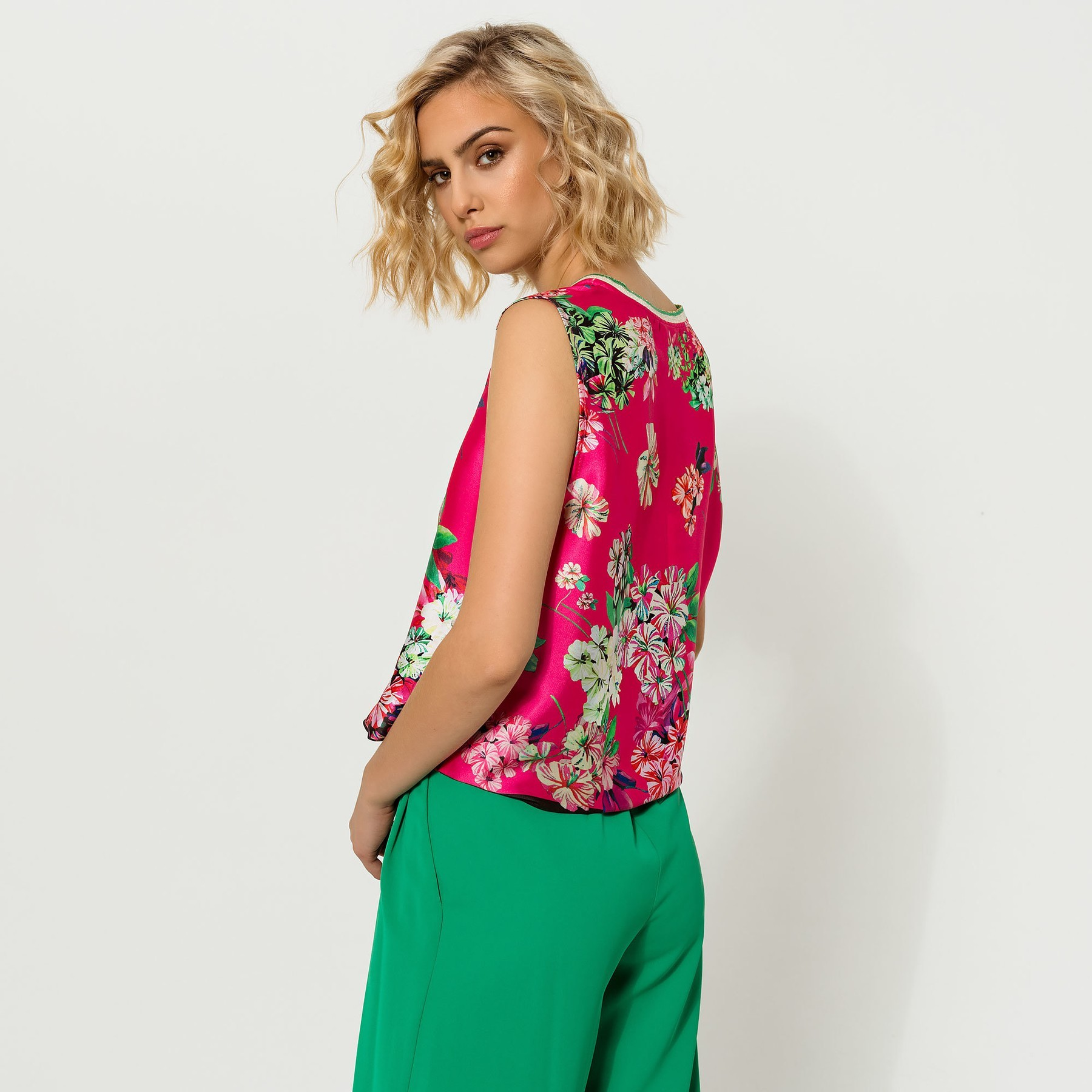 Floral Sleeveless Silk Feel Top