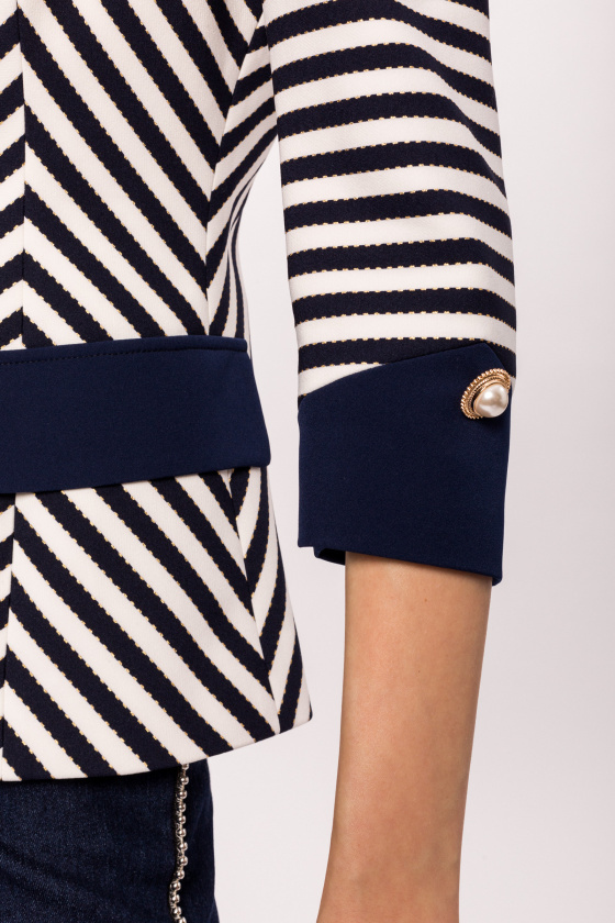 Navy and Ivory Striped Jacket with Pearl Buttons